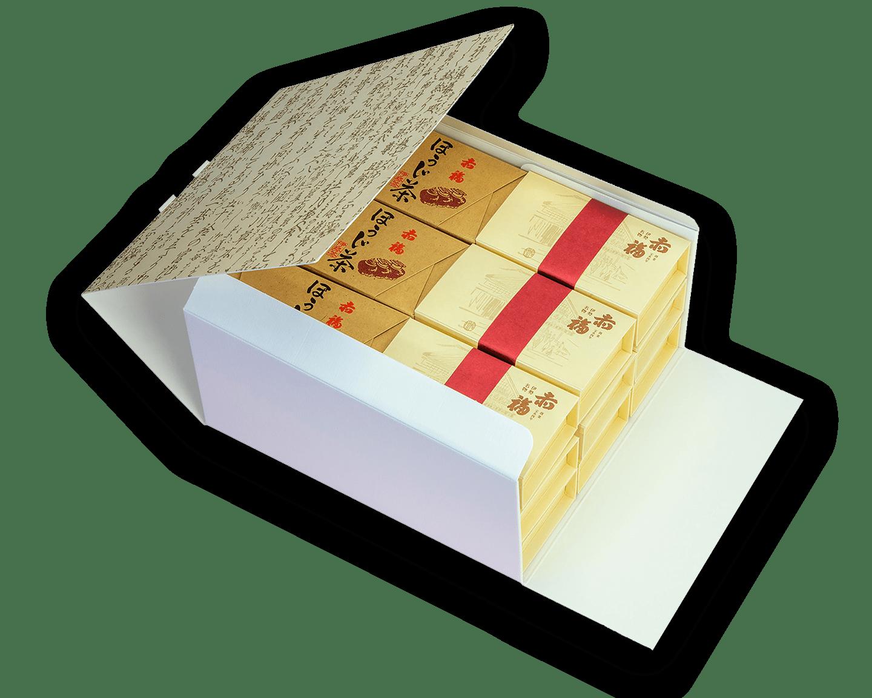 18箱セット<br />銘々箱(2個入り)×15箱 <br /> ほうじ茶(5個入り)×3箱